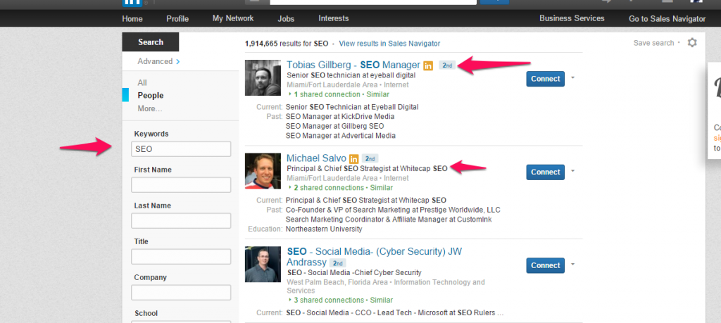 how to search for people on linkedin